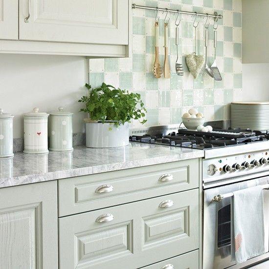 Light Green Kitchen Cabinets: Pale Green Kitchen With Chequerboard Splashback