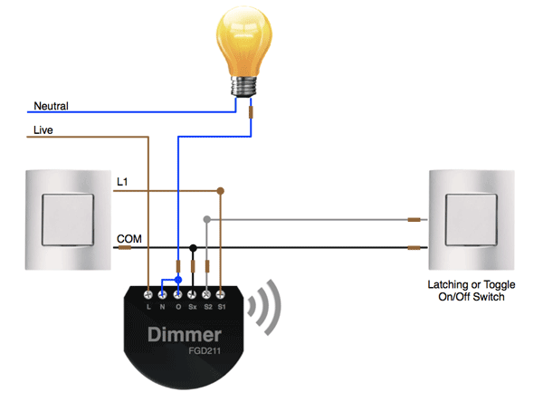 2 way wiring on off control with the fibaro dimmer. Black Bedroom Furniture Sets. Home Design Ideas