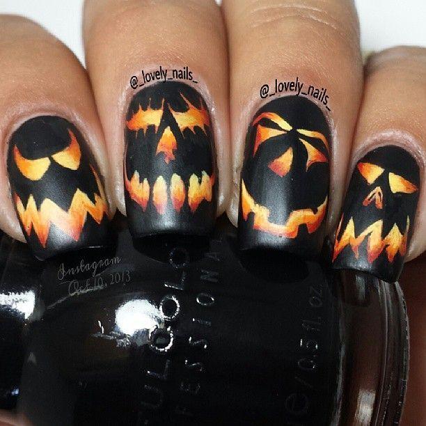 spooky nail art | Pumpkin nail art, Halloween nail designs ...