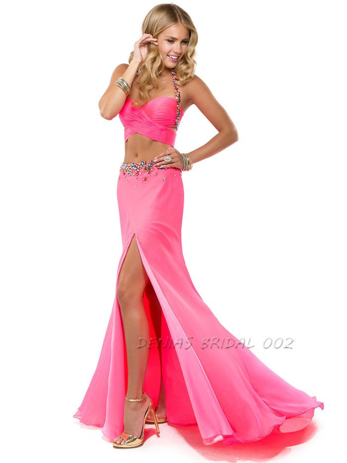 Side Slit Homecoming Dresses Rhinstone Halter Neck Long Chiffon Prom ...