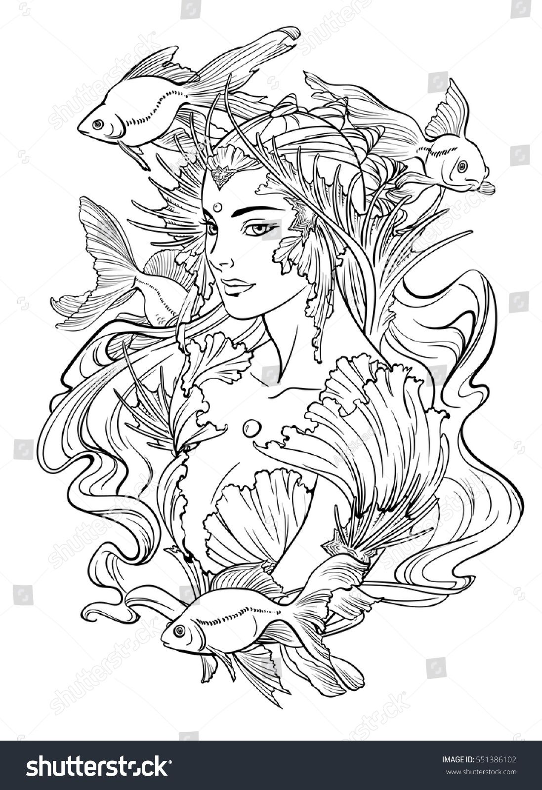 Illustration Of Mermaid Princess With Curled Hair Decorated With Seashell Elements And Goldfishes Fairy Coloring Pages Mermaid Coloring Pages Fairy Coloring [ 1600 x 1097 Pixel ]