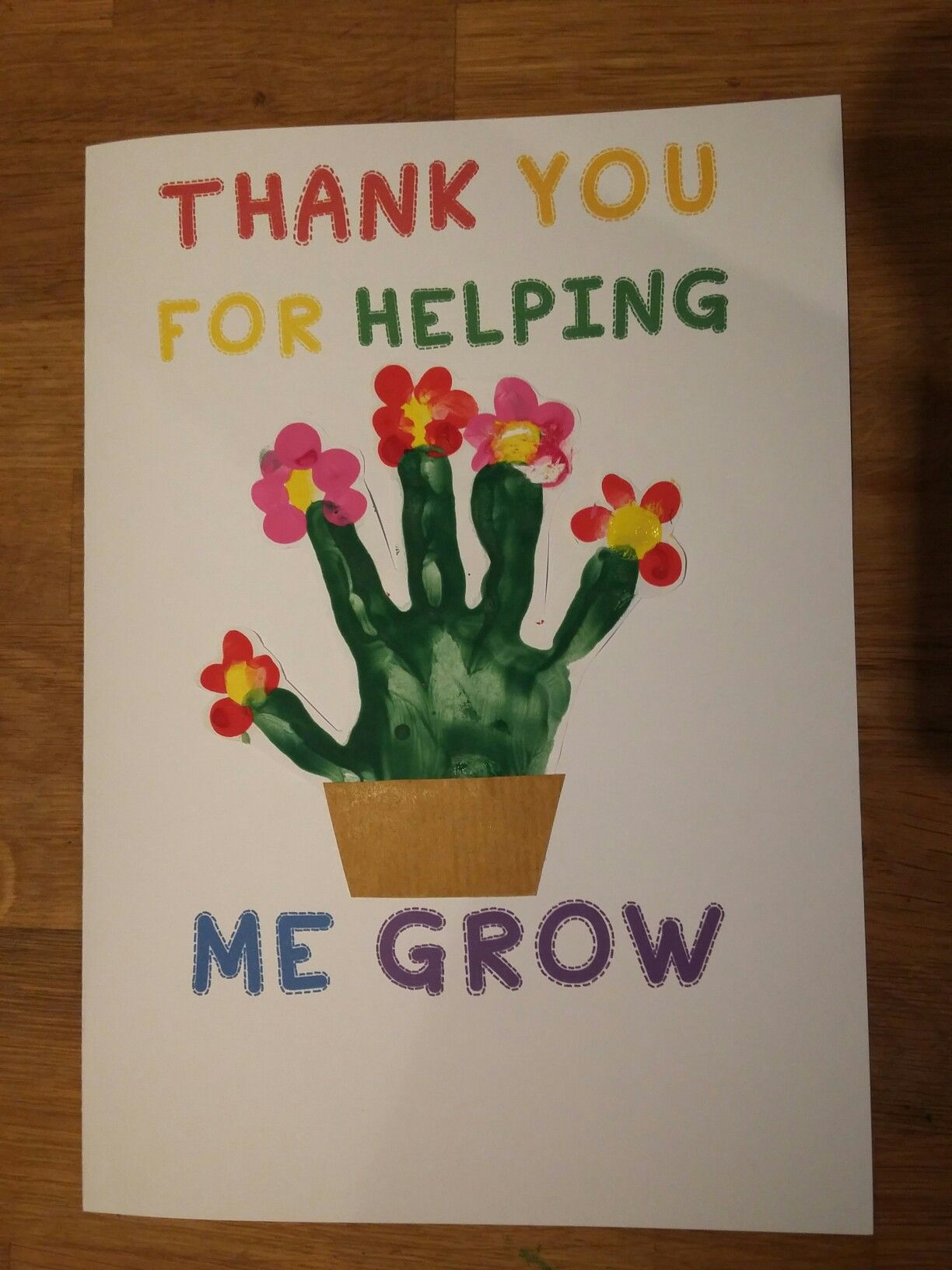 Preschool Nursery Thank You Card Art Finger Painting Thank You Cards From Kids Teacher Cards Greeting Cards For Teachers