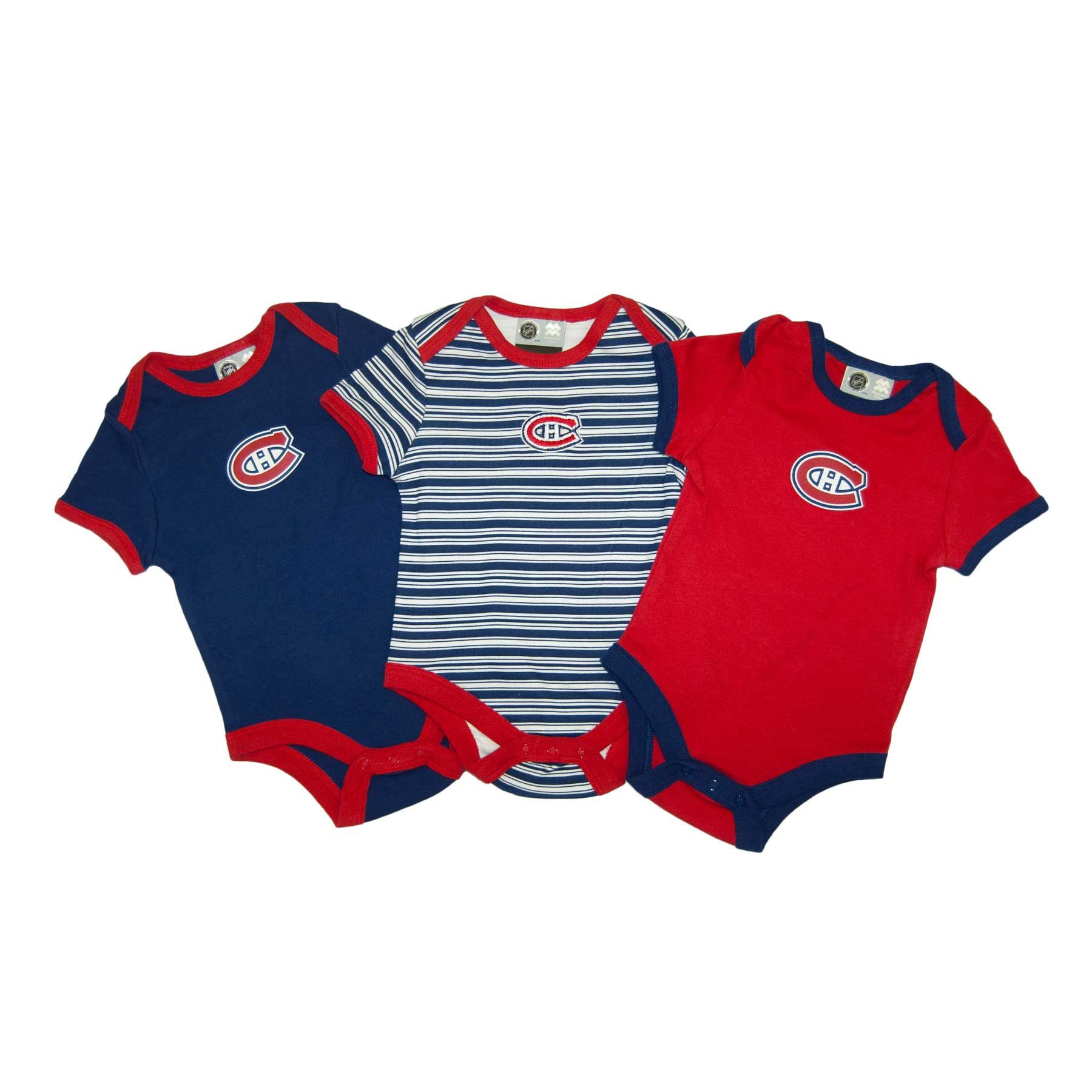 Montreal Cana ns Baby 3 pc Solid and Stripes Creeper Set