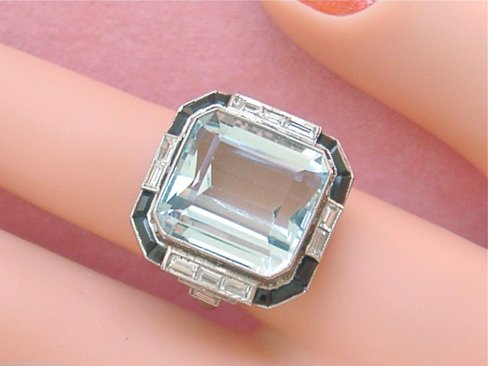 Estate Art Deco 13 Carat Aquamarine 75ctw Diamond Onyx Platinum ...