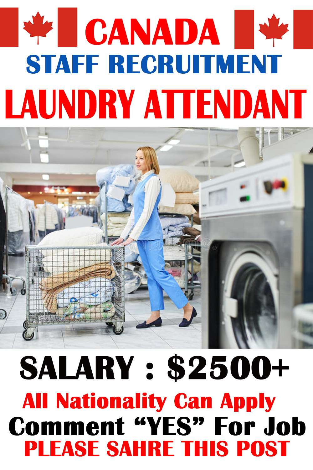 Laundry Attendant Wanted In Canada Work Opportunities Staff