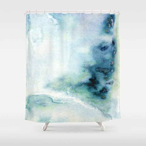 Blue Abstract Shower Curtain Original Abstract Spiritual