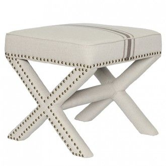 Eventsource.net Jute / Gray Stripe Remy Ottoman