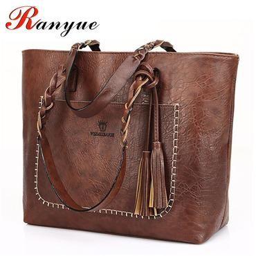 77f2e38aeb2c RANYUE Women Vintage PU Tassel Shoulder Bag Female Retro Daily Causal Totes  Lady Elegant Shopping Handbag All-match Dames Tassen