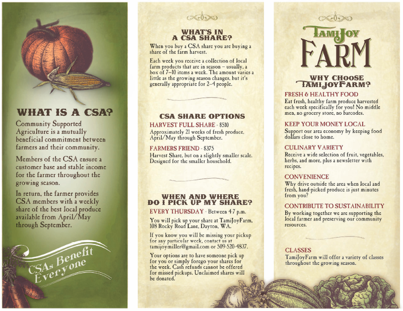 Tri-Fold Brochure Design; Vintage, Antique, Garden, Farm; Avg ...