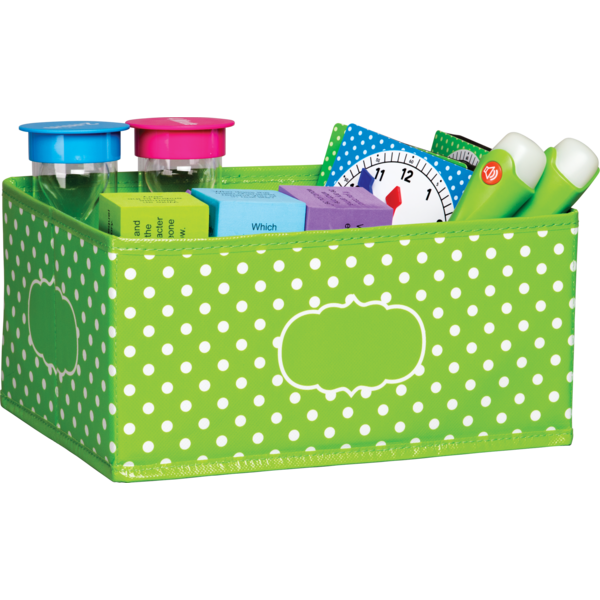 TCR20818 Lime Polka Dots Small Storage-$11.99