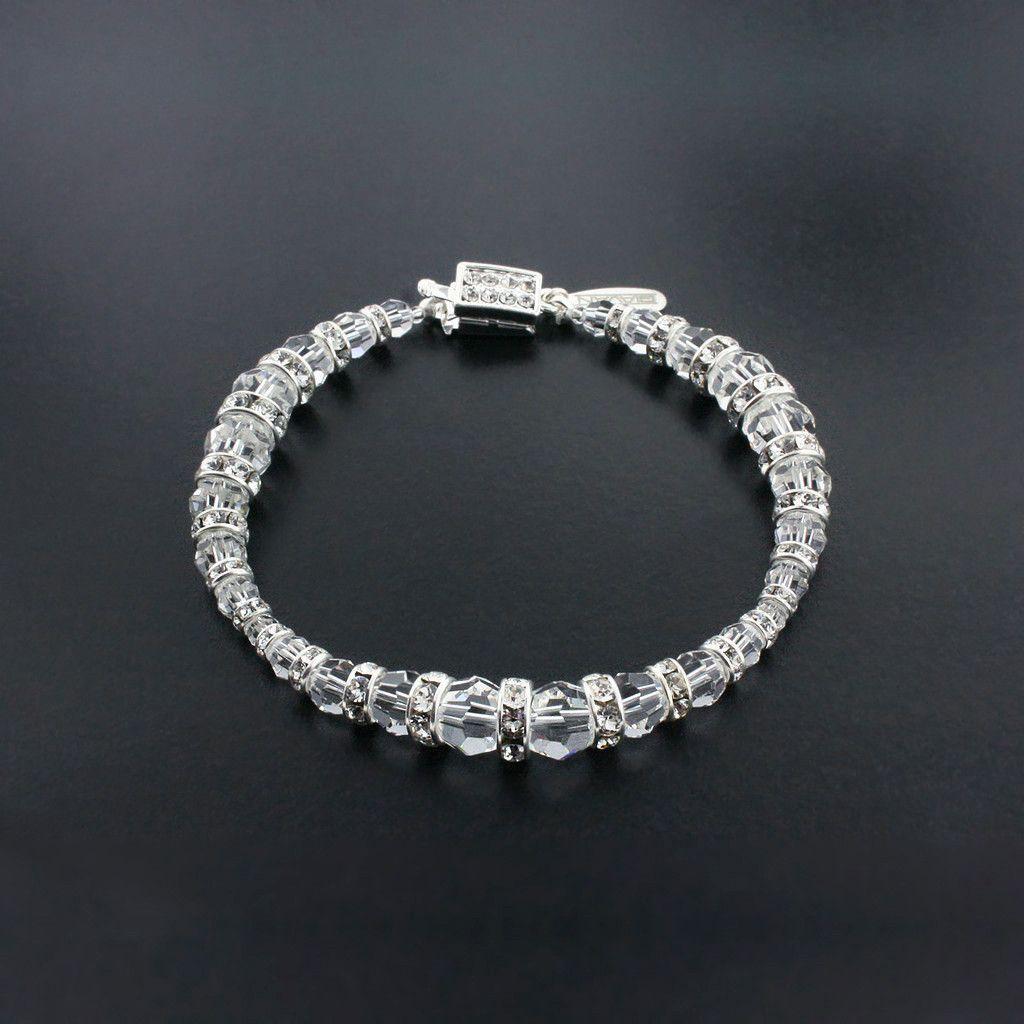 Graduated Crystal Bracelet with Rondelles