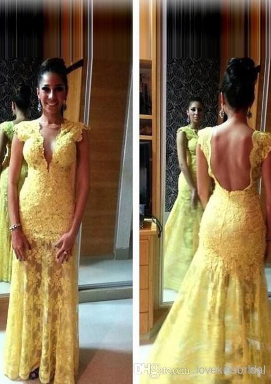 Wholesale Lace Prom Dresses - Buy Daffodil Lace Evening Dresses 2014 Alluring Sheath V-Neck Cap Sleeve Appliqued Backless Floor-Length Evening Dresses, $135.71 | DHgate