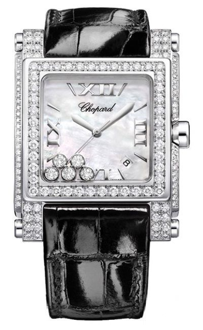 5f4dd30b7509a square watch | Chopard Happy Sport Square II Mother of Pearl Diamond Ladies  Watch .