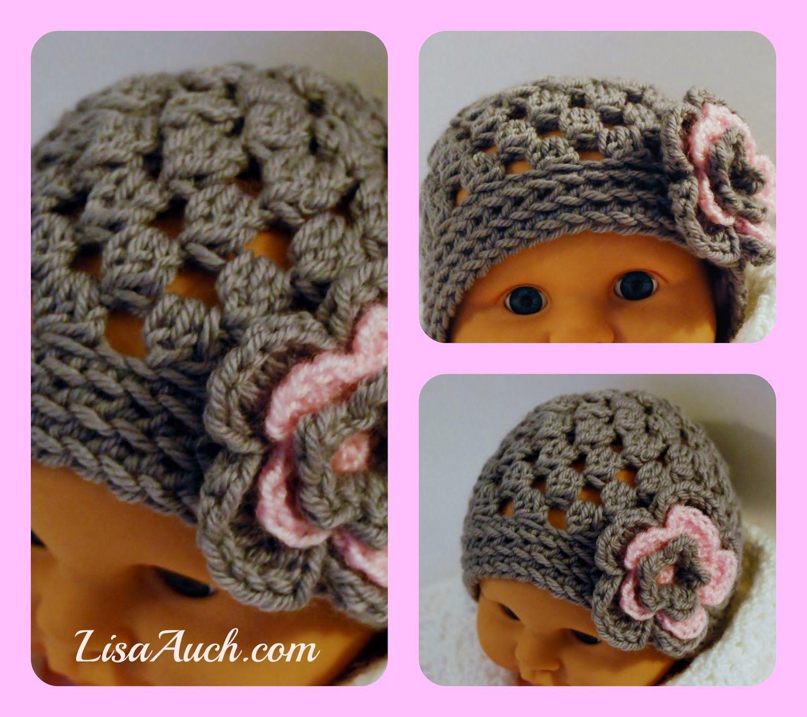 Free Crochet Pattern For A Cute Baby Hat Beanie With Crochet Flower