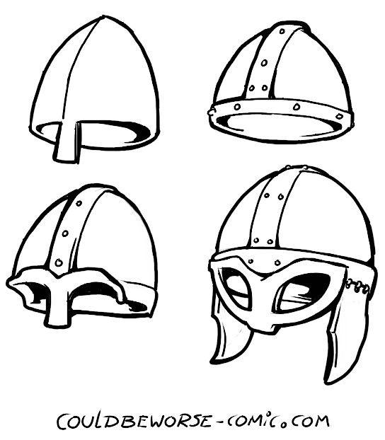 Viking helmet drawing  Marcello Barenghi