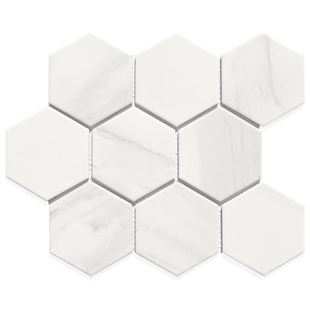Abolos white hexagon 12 in x 10 in x 6mm glossy mesh