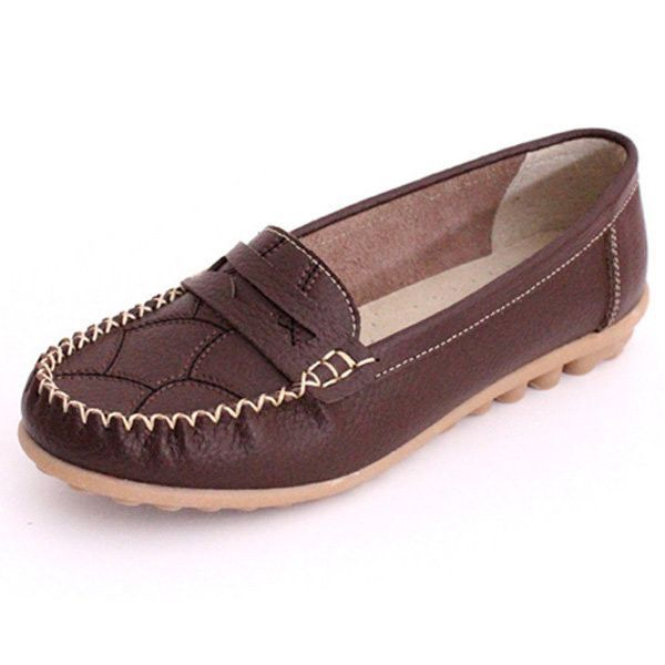 Leather Casual Flat Comfortable Loafers | Black dark, Autumn colours and  Colour black