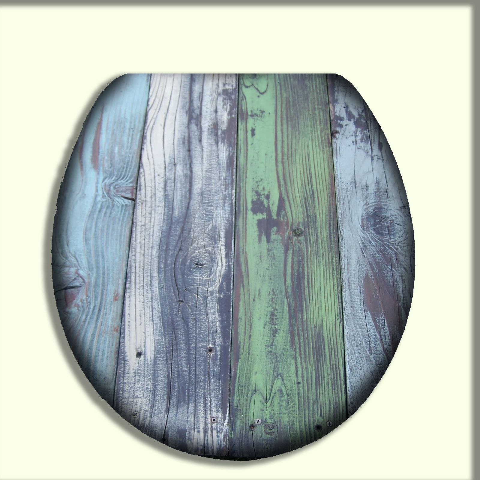 Toilet Seat With Muted Shades Of Blue And Green Design Wood Toilet Seat Reclaimed Wood Design Toilet Seat