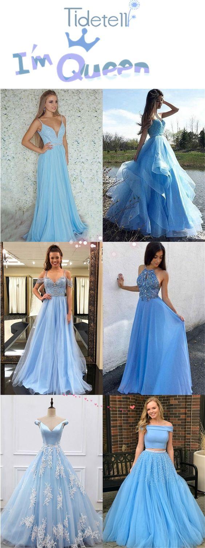 Elegant light blue prom dress beautiful evening dress prom