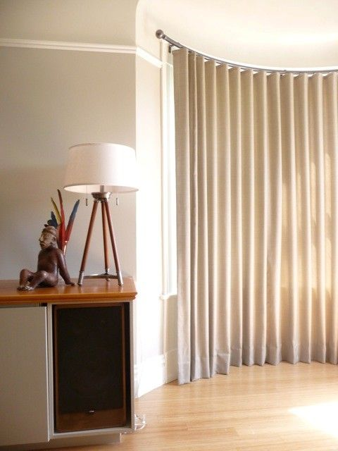 Brimar Drapery Poles May Be Custom Bent For Bow And Bay Window Areas Window Coverings By Stitchsf Co Corner Window Treatments Bow Window Bow Window Treatments