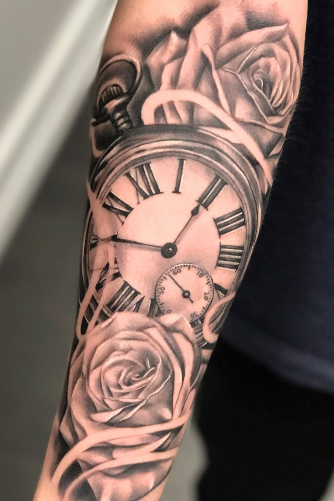 Clock And Rose Tattoo Design 1 The Best Half Sleeve Tattoo Designs You Can Ch In 2020 Clock And Rose Tattoo Unique Half Sleeve Tattoos Half Sleeve Tattoos For Guys