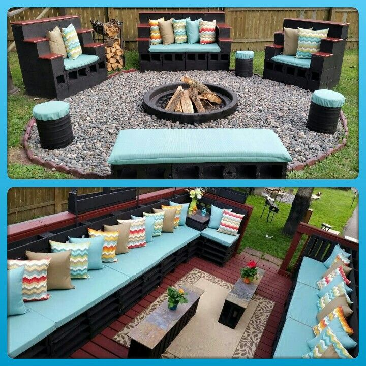 Pallet furniture concrete patio furniture concrete fire pit chevron pillows outdoor seating