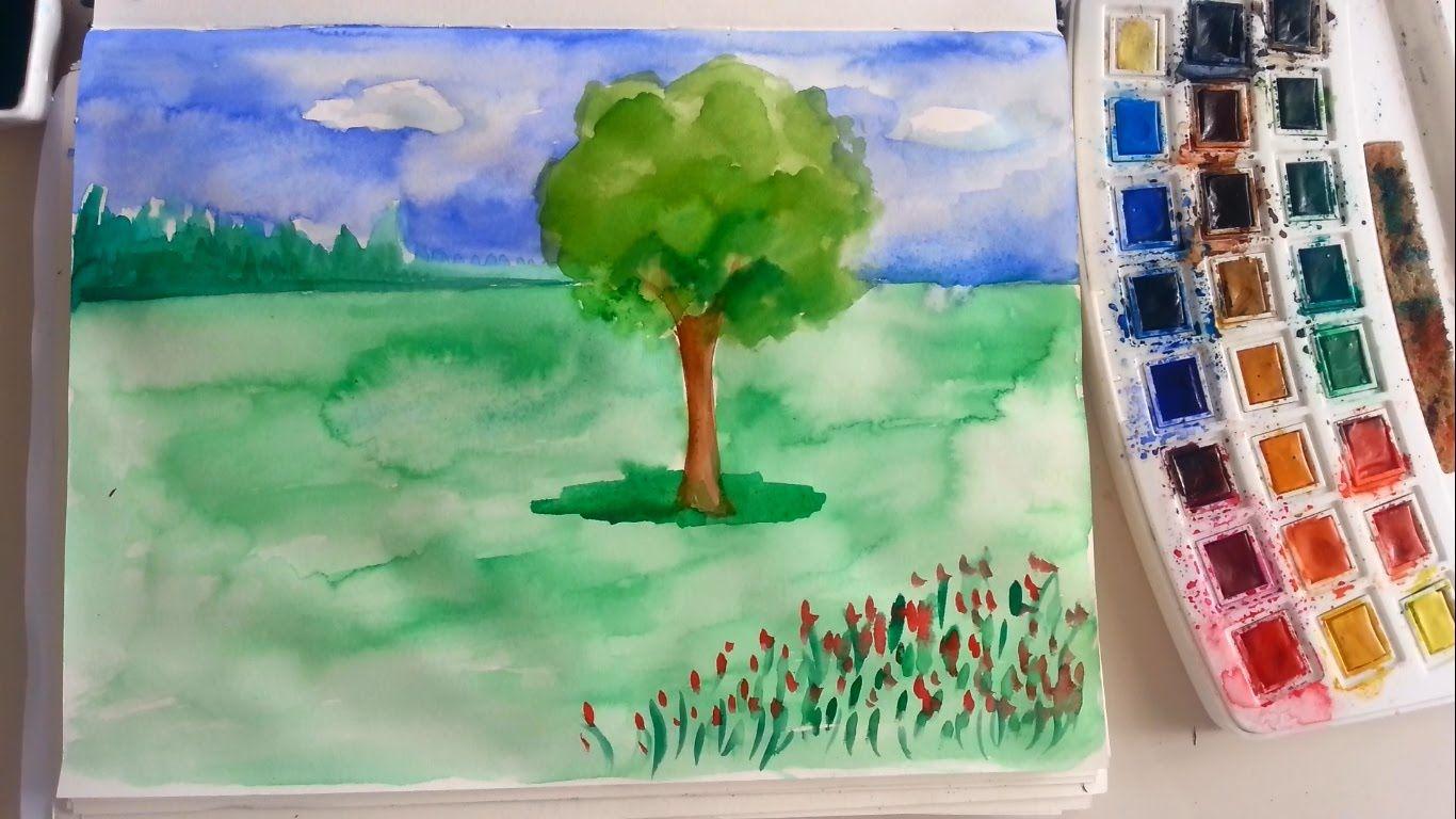Sulu Boya Manzara Resmi Sanatin Renkleri Sulu Boya Sanat Suluboya