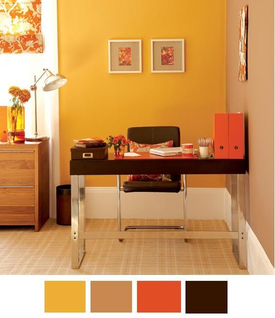 30 office design ideas bringing optimism with orange color for Colores para sala comedor