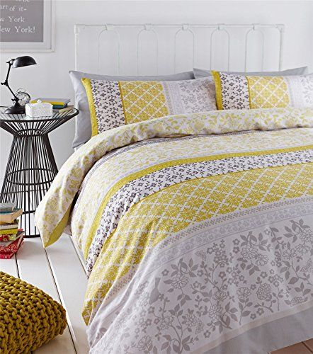 Banded Floral Bird Yellow Grey Canadian Full 200cm X 200cm Uk Double Cotton Blend Reversible Duvet Comforte Duvet Covers Yellow Luxury Bedding Yellow Duvet