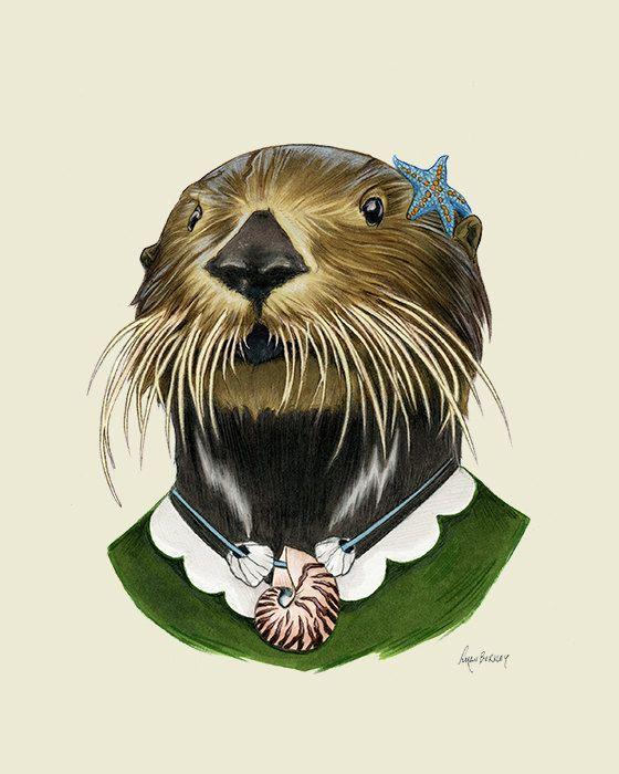 Sea Otter Lady art print - Animal art - Nursery art - Nursery decor ...