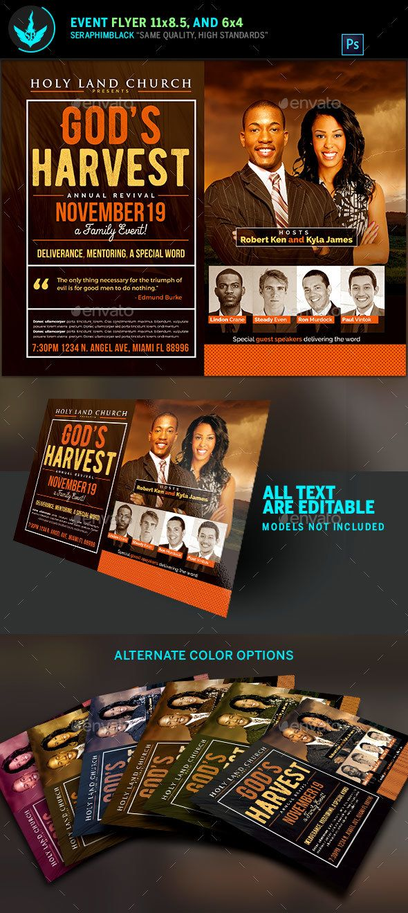 Gods Harvest Revival Flyer Template Flyer Template Template And