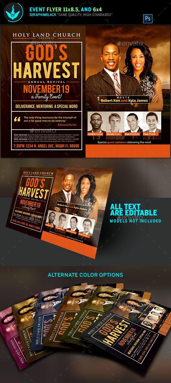 god s harvest revival flyer template church flyers. Black Bedroom Furniture Sets. Home Design Ideas