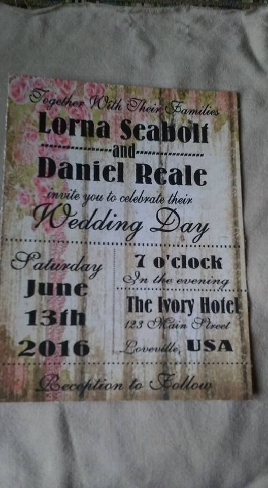 50 Wedding Invitations Rustic Wood with roses