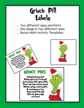 photo relating to Grinch Pills Free Printable identify Grinch Working day Grinch Tablet Labels Math Workmats Grinch Working day