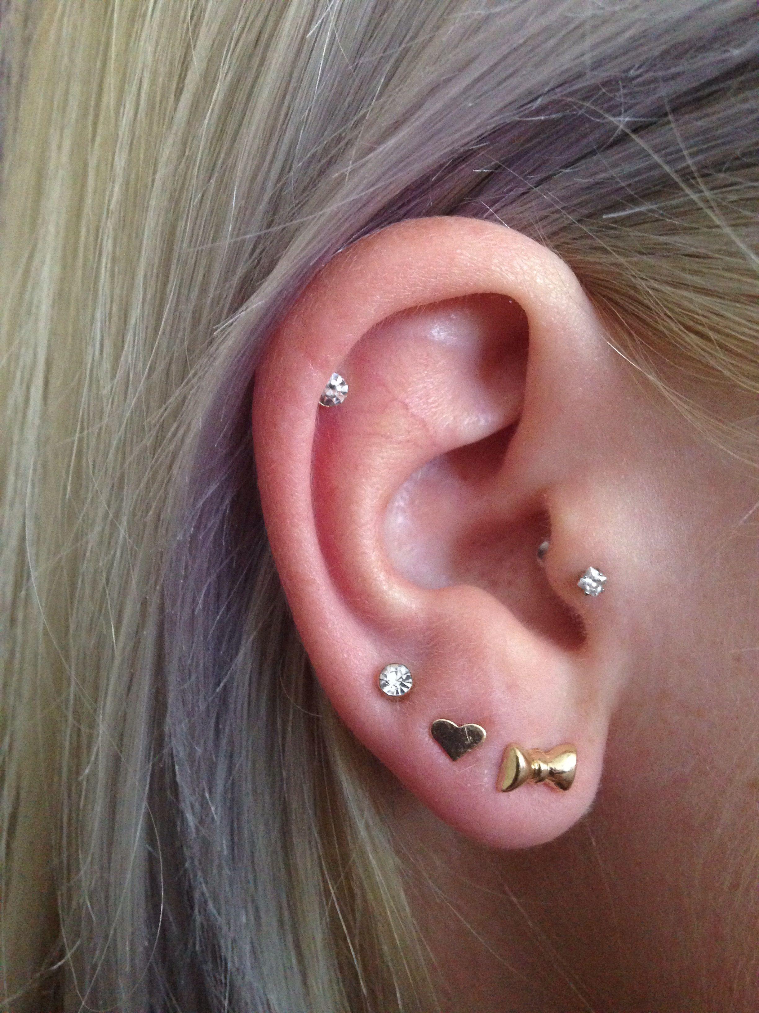 Ear piercings tragus, triple lobe and cartilage | Ear ...