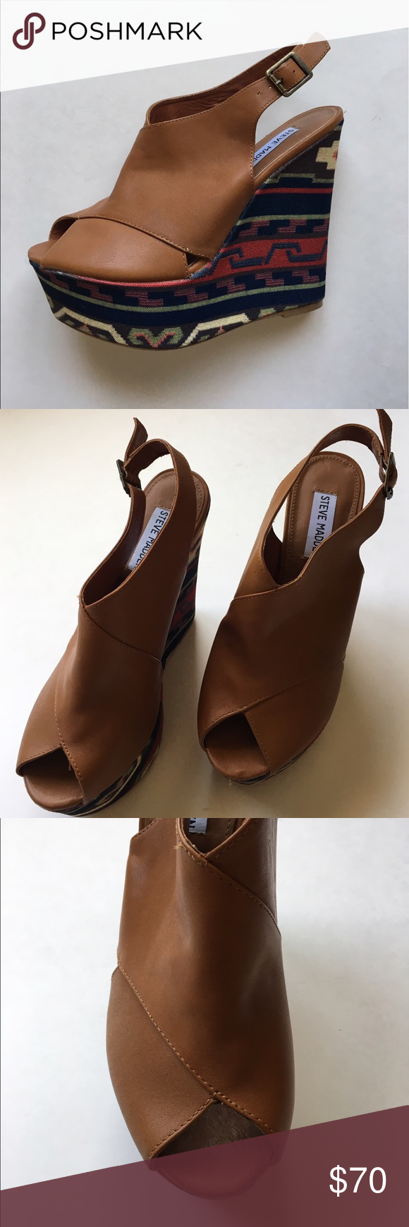 """🆕 Steve Madden Platform Wedges NWOT - Hello!   You will be making a statement in these shoes!  Unique and fun, pair with a solid color to show off the heel. Never worn. Size - 8M. Platform -1.75""""/Heel -5.75"""" Steve Madden Shoes Platforms"""