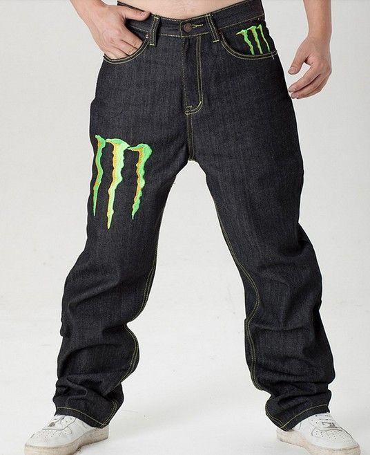 mens hip hop graffiti print baggy jeans denim pants j6