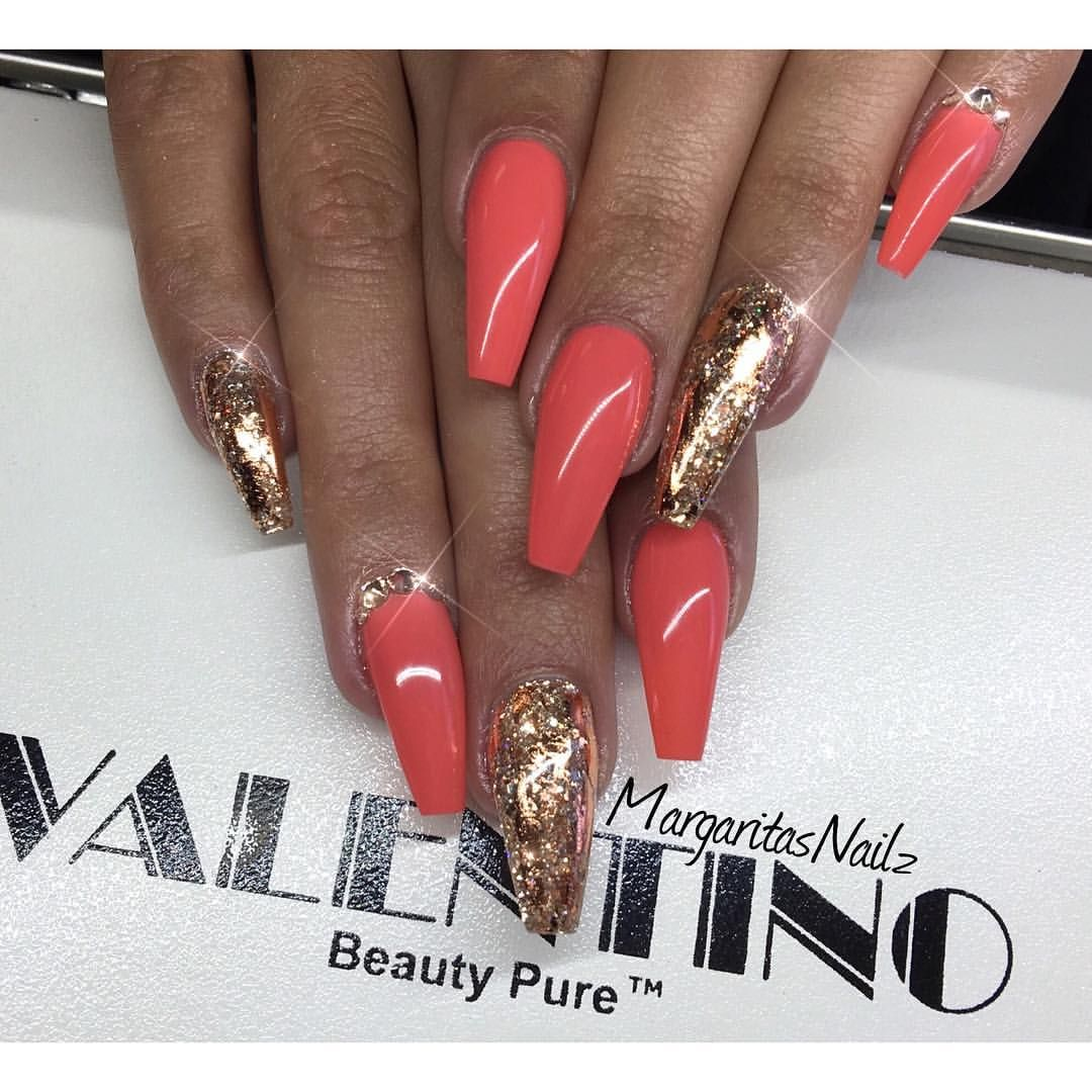 Rose gold coffin nails fashion nail art by MargaritasNailz nail ...