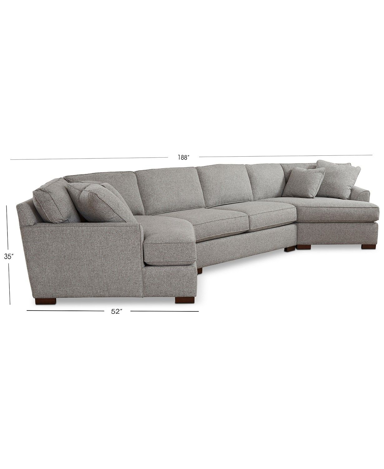 Carena 3 Pc Fabric Sectional With Apartment Sofa And Double Cuddler Chaise Created For Macy S Furniture Macy S Apartment Sofa Furniture Sectional