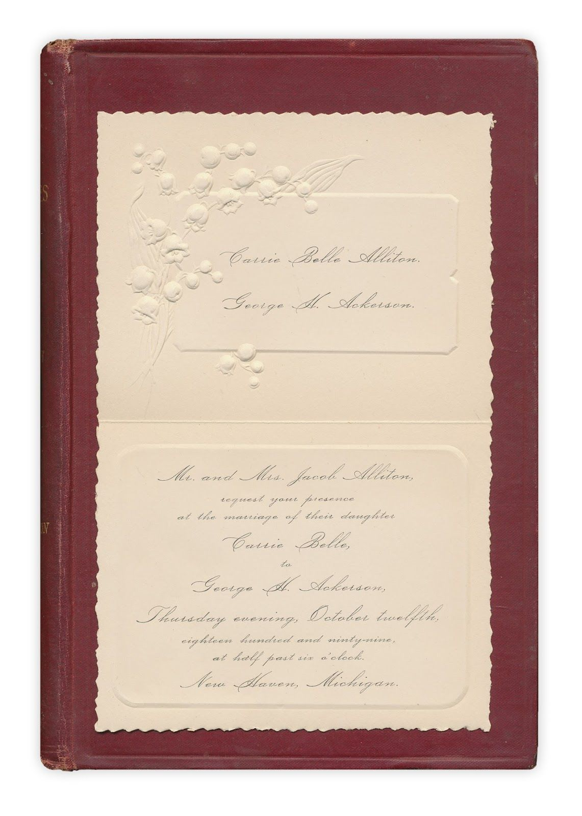 Your presence is requested books wedding invitation carrie belle alliton george h ackerson mr and mrs jacob alliton request your presence at the marriage of their daughter carrie belle stopboris Gallery