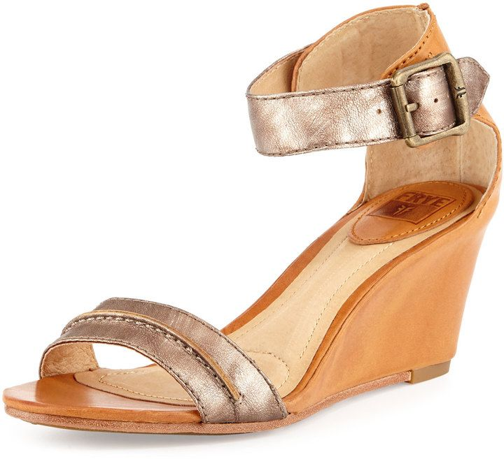 Frye Carol Leather Wedge Sandal, Bronze