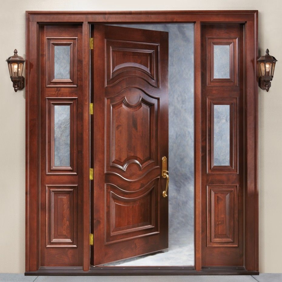 Brown Fiberglass Entry Panel Door With Traditional Sidelights ...