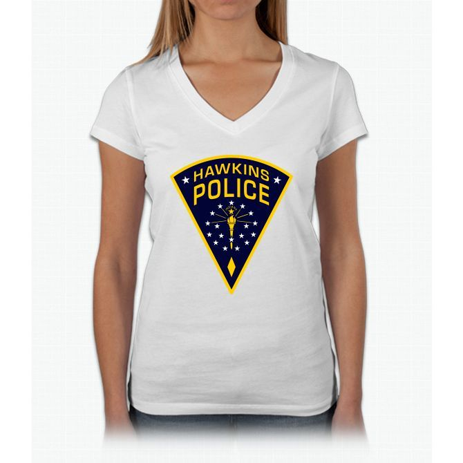 Hawkins, Indiana Police Stranger Things Womens V-Neck T-Shirt