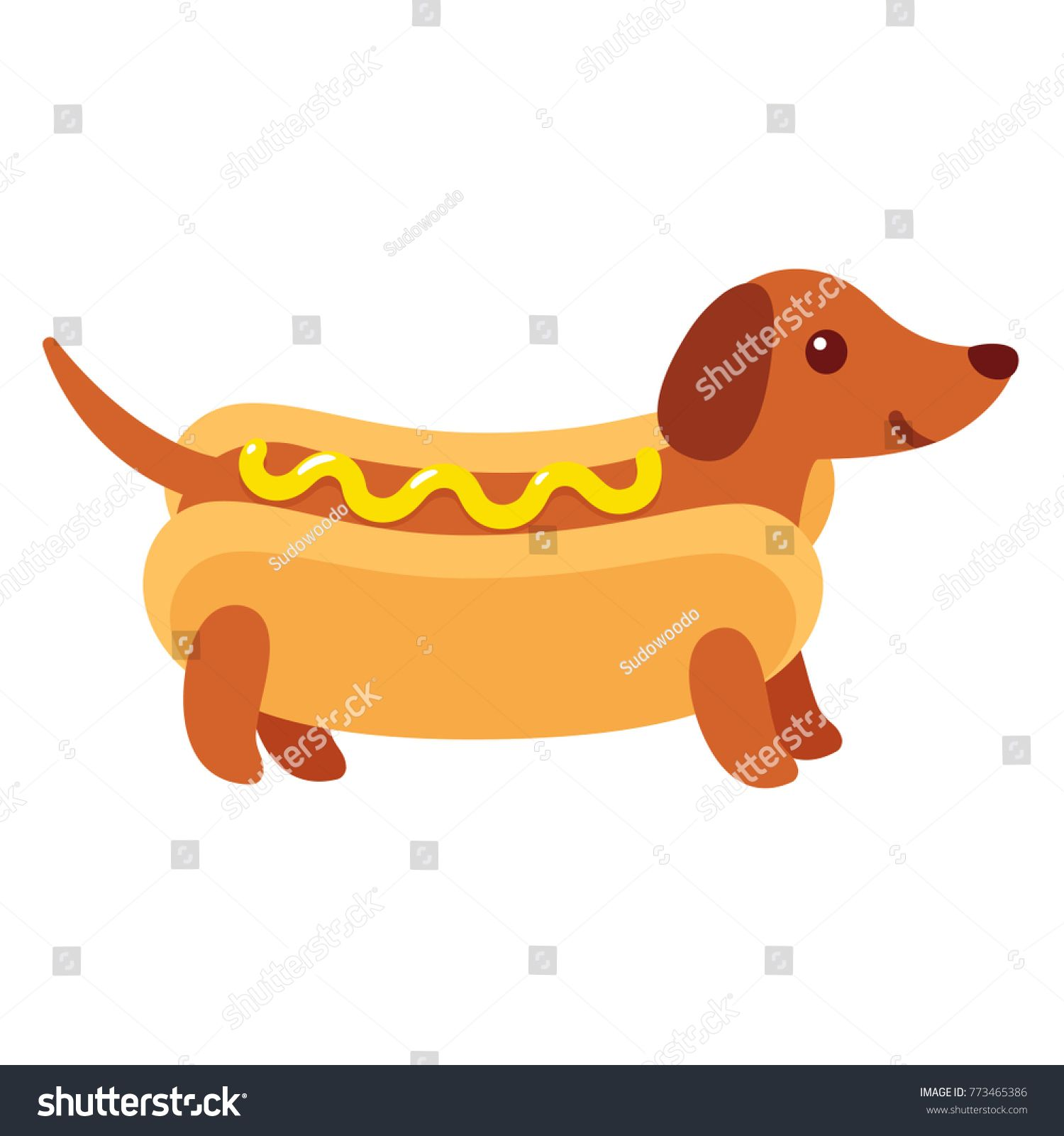 Dachshund Puppy In Hot Dog Bun With Mustard Funny Cartoon Drawing