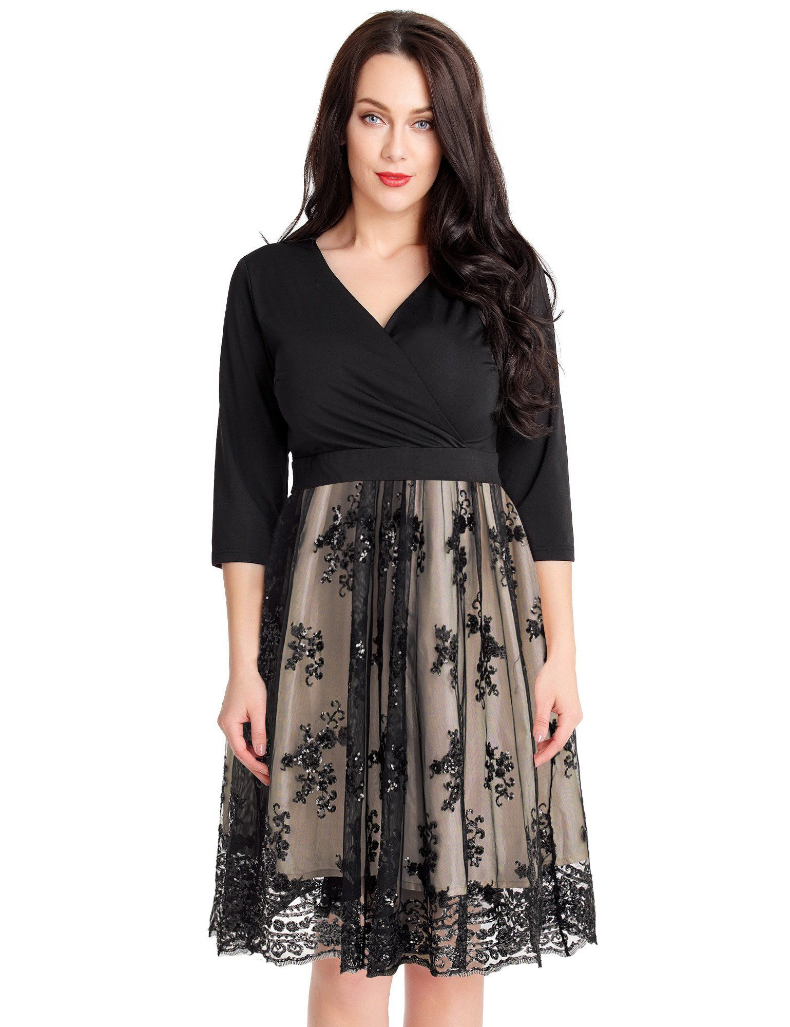 b46f328049 GRAPENT Womens Plus Size 3 4 Sleeve Surplice Sequin Mesh A Line Skater Dress  Champagne Black 26W    Want additional info  Click on the image.