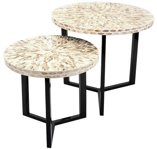 Delightful Enjoy The Pavati Shell Tables At Your Next Beach Party, Two Round Side  Tables Are