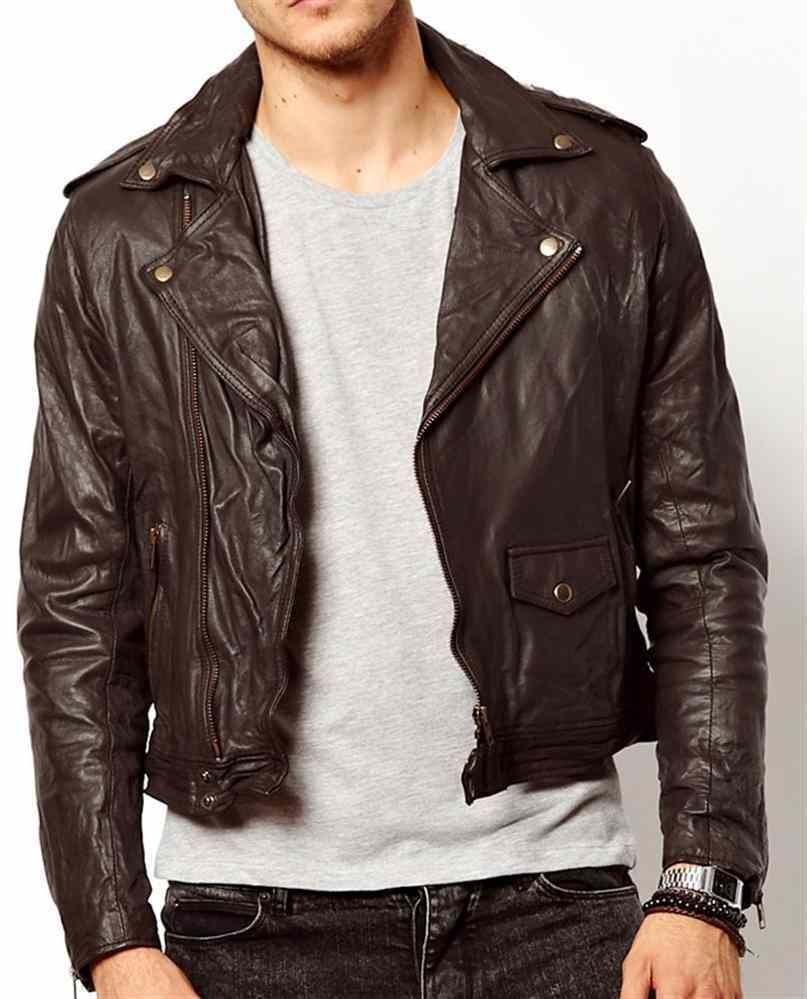 Men dark brown leather jacket real leather biker jacket, men short ...