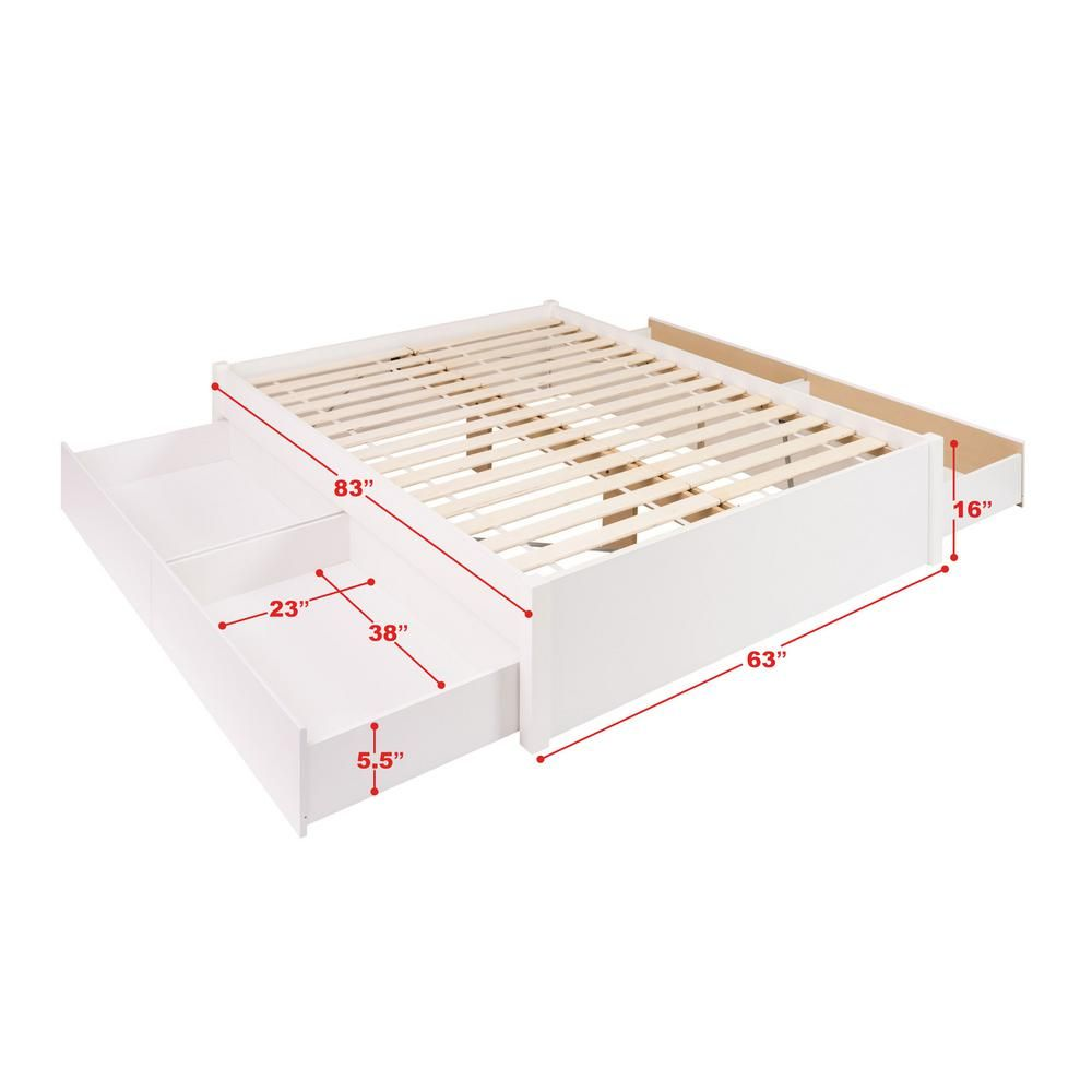 Prepac Select White Queen 4 Post Platform Bed With 4 Drawers Wbsq