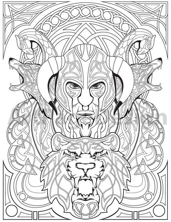 Viking Warrior Celtic Pattern Coloring Pages For Adults Coloring
