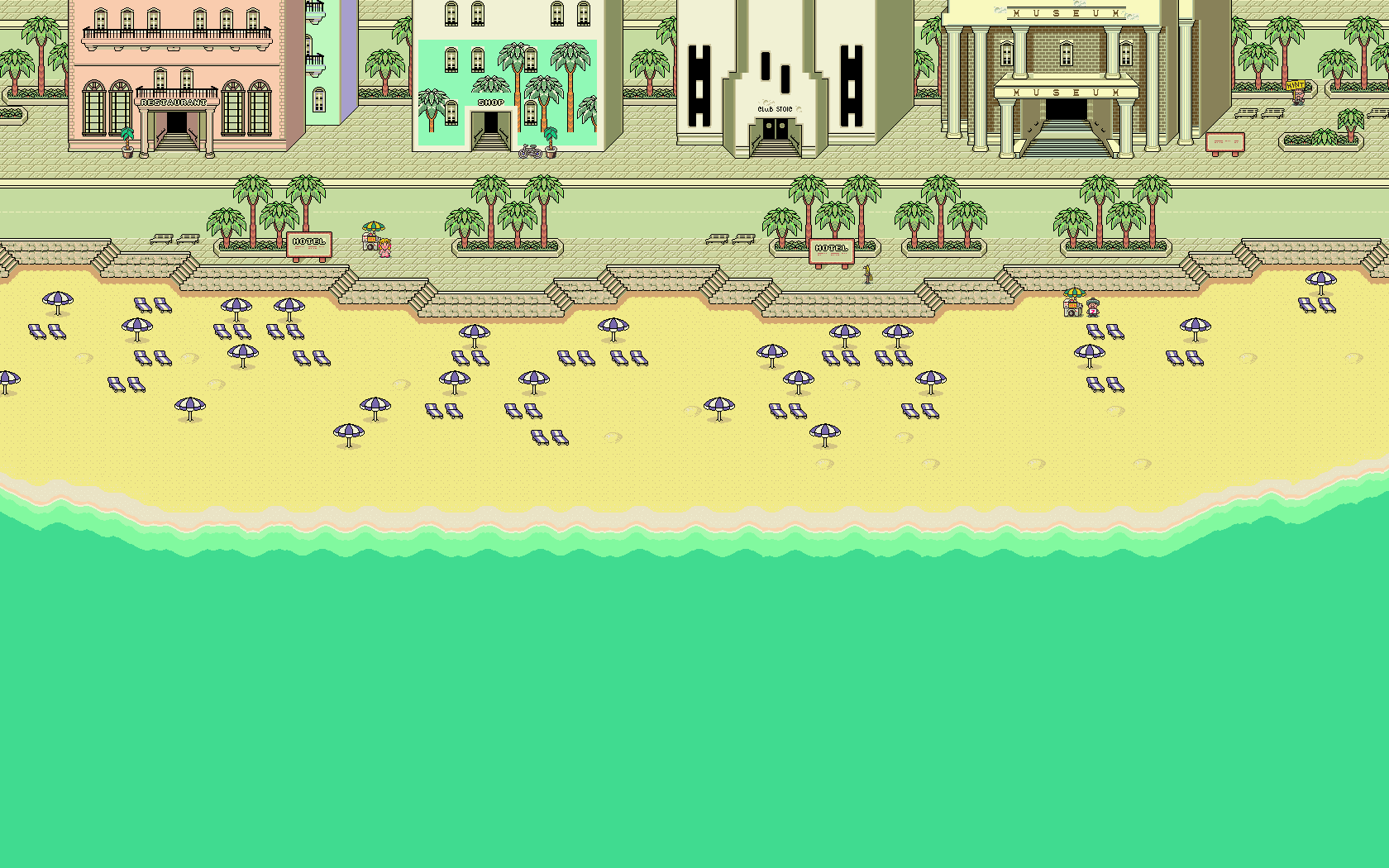 Pixel Beach 1680 1050 Pixel Art Free Art Beach Wallpaper